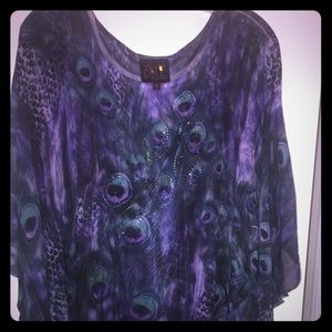 Beautiful purple summer top with peacock design